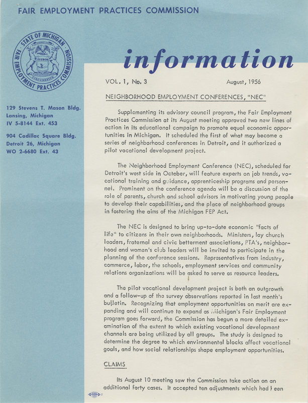 Newsletter of the Michigan Fair Employment Practices Commission