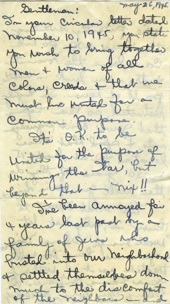 Letter from Detroit Resident, first page, May 26, 1945