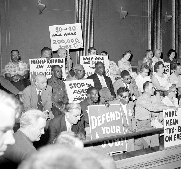 Unemployment; Marches; Michigan; Lansing; 1959.