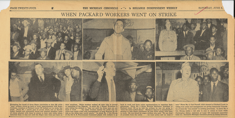 "Newspaper, The Michigan Chronicle, ""Packard Hate Strike,"" 1943"