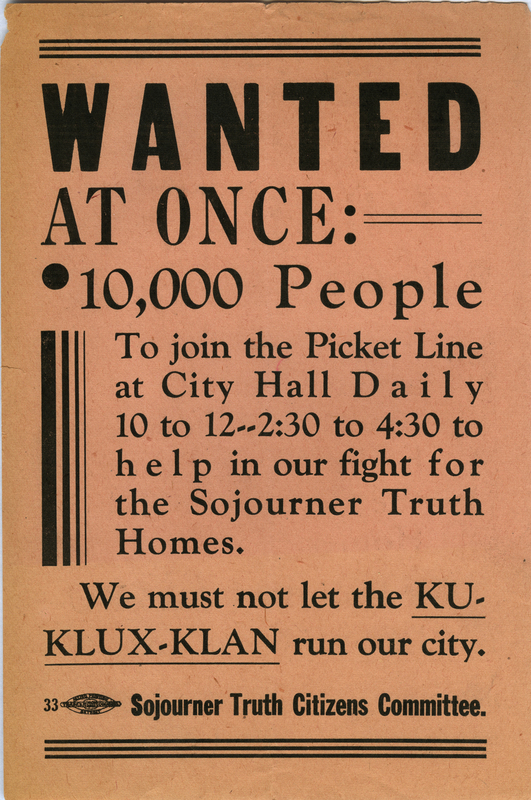 Flyer, Sojourner Truth Citizens Committee, Ku Klux Klan, 1942