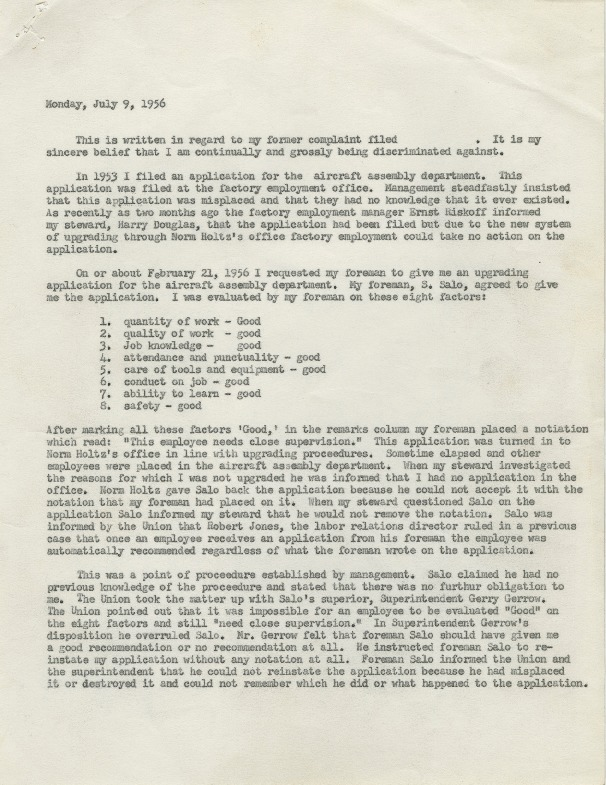 Discrimination complaint, L. Miller against Ex-Cell-O, 1956