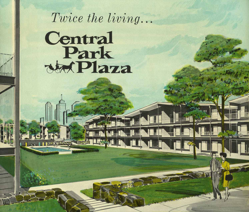 Brochure, Central Park Plaza, front cover, c. 1962