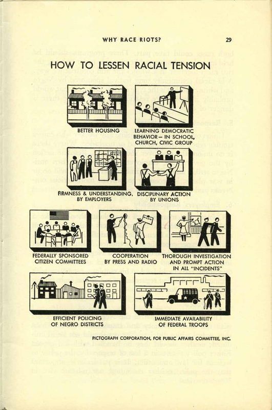Pamphlet, What Caused the Detroit Riot? An Analysis, infographic, 1943
