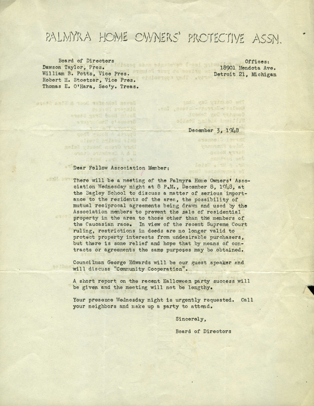 Letter from Board of Directors to Association member, December 3, 1948
