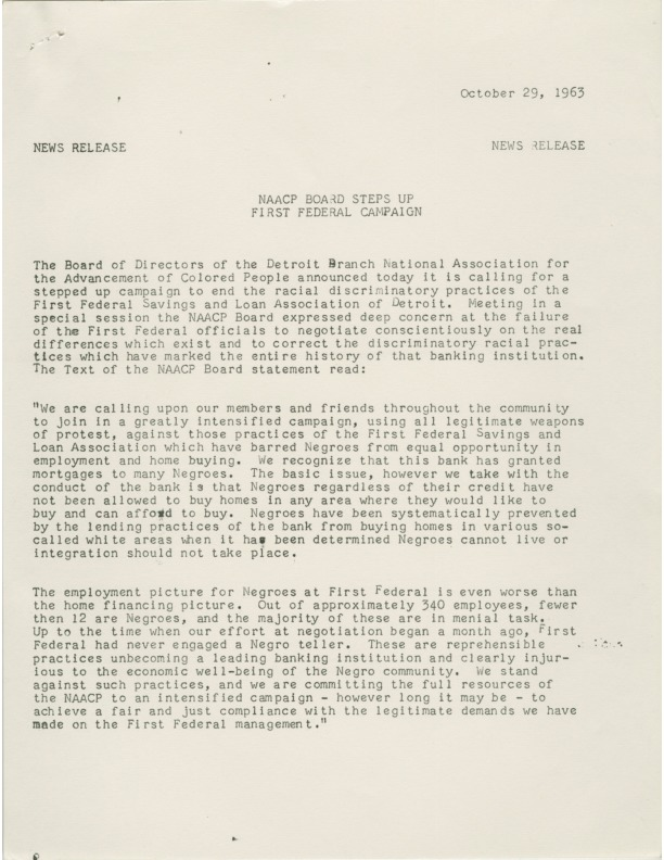 News release, NAACP Detroit Branch, discriminatory banking practices, 1963
