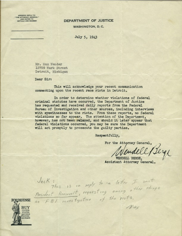 Letter from Wendell Berge to Max Wender, July 5, 1943