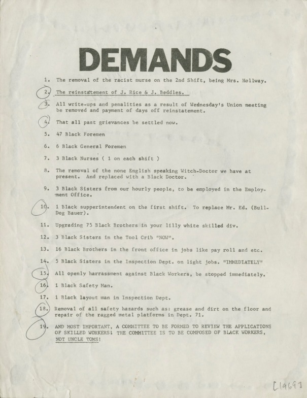 List of workplace demands