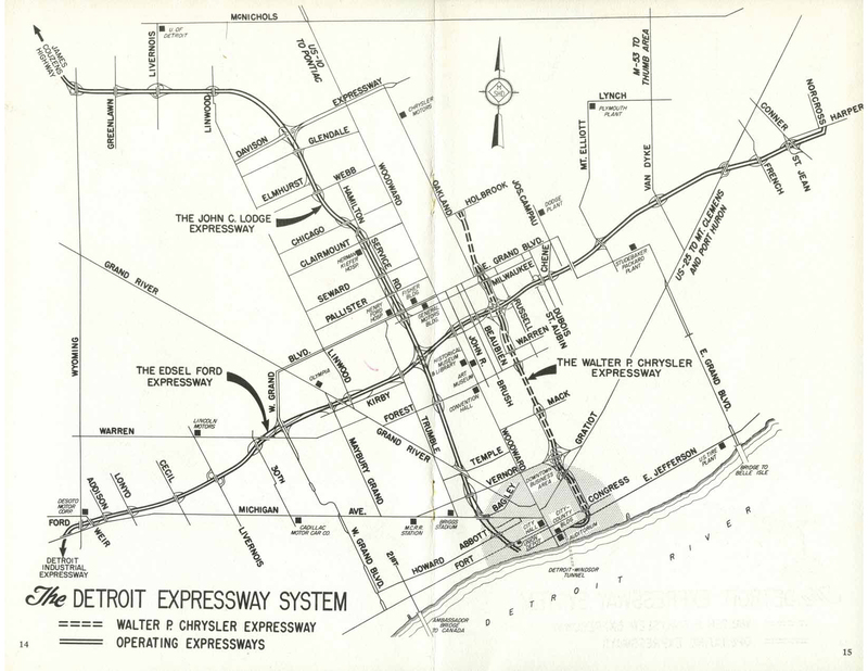 Souvenir pamphlet, Detroit Expressways, map, 1959