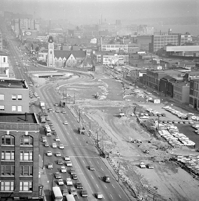 Streets; Chrysler Freeway; Construction. Looking East Fr. Roof - City Co. Bldg.