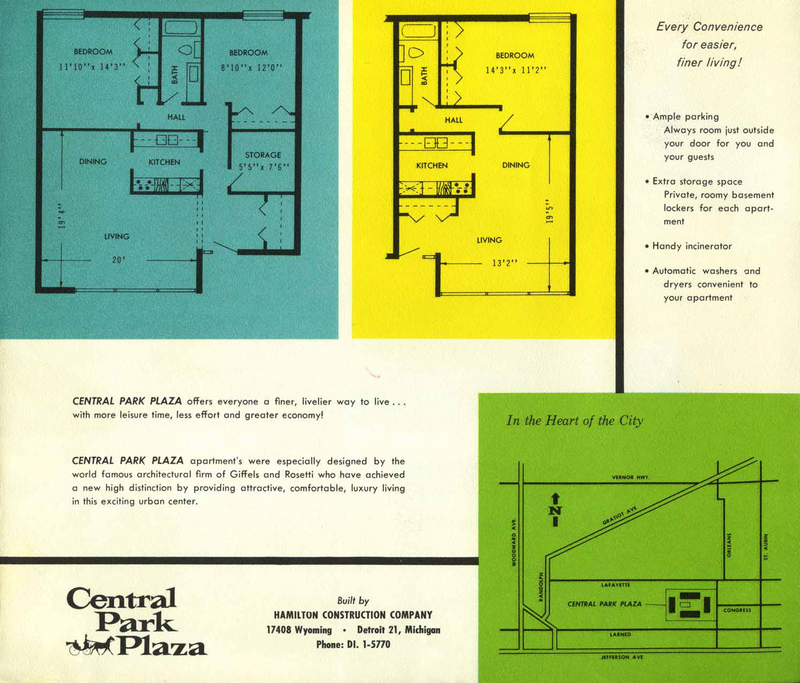 Brochure, Central Park Plaza, back cover, c. 1962