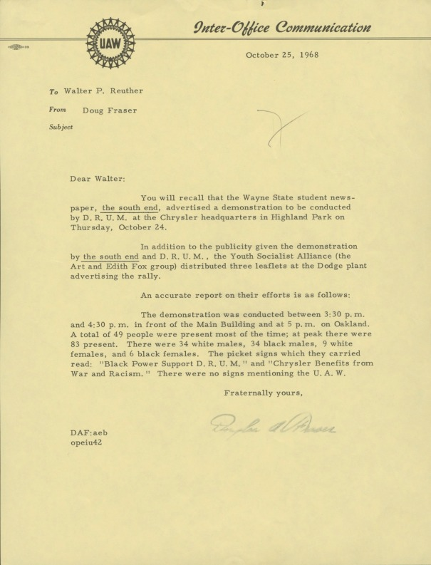Letter to Walter P. Reuther from Douglas Fraser about DRUM