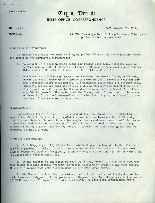 Memo from James Bush to Richard Marks, August 25, 1966