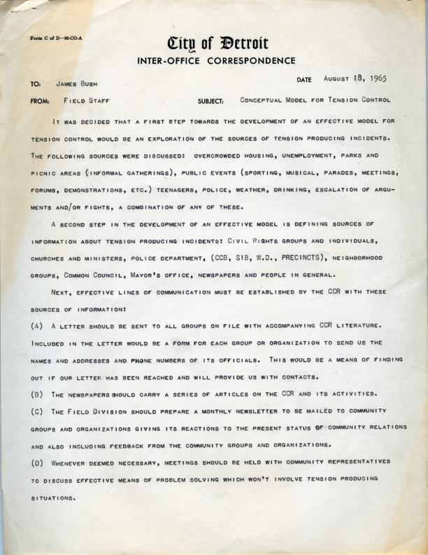 Memo from Detroit Commission on Community Relations field staff to James Bush, August 18, 1965