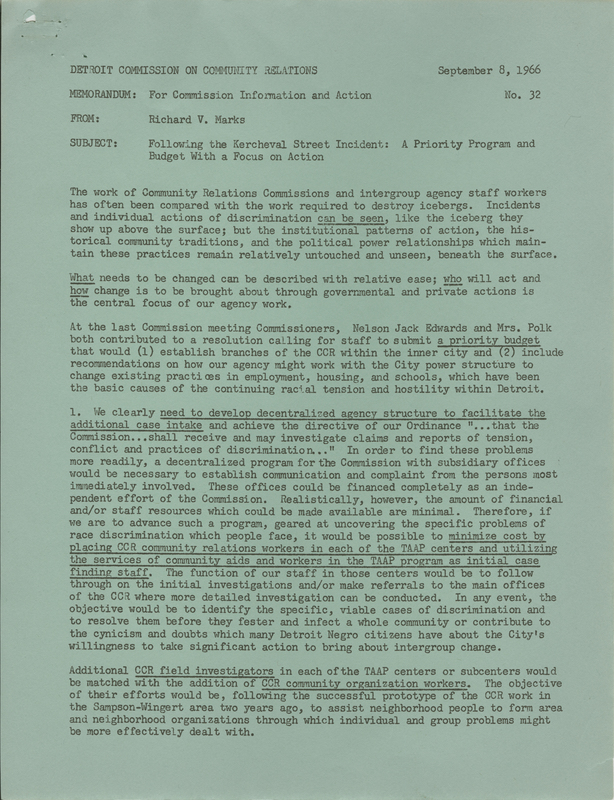 Memo from Richard Marks to the Detroit Commission on Community Relations, September 8, 1966